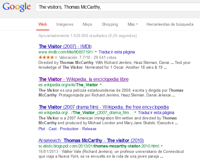 Buscando The Visitors con Google