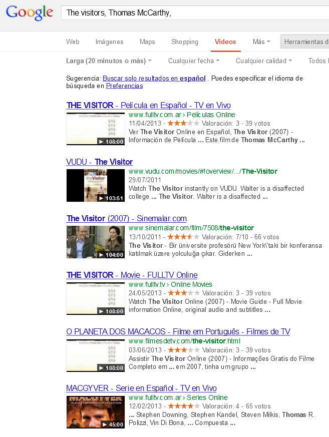 Los resultados buscando videos de mayor duración.